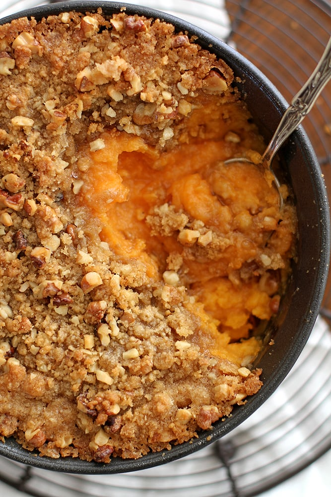 spoon in sweet potato casserole dish