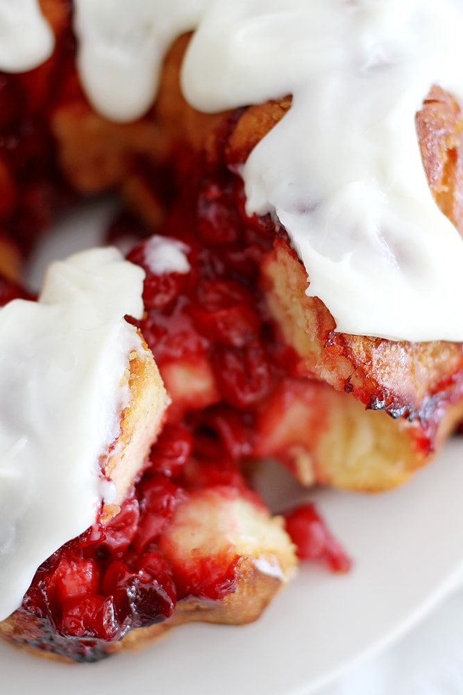 close up cherry cheesecake monkey bread