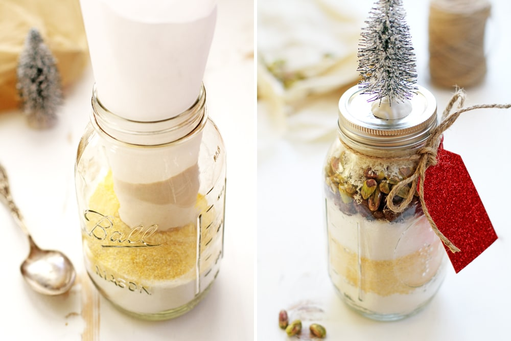 preparing cherry coconut pistachio biscotti gift jar