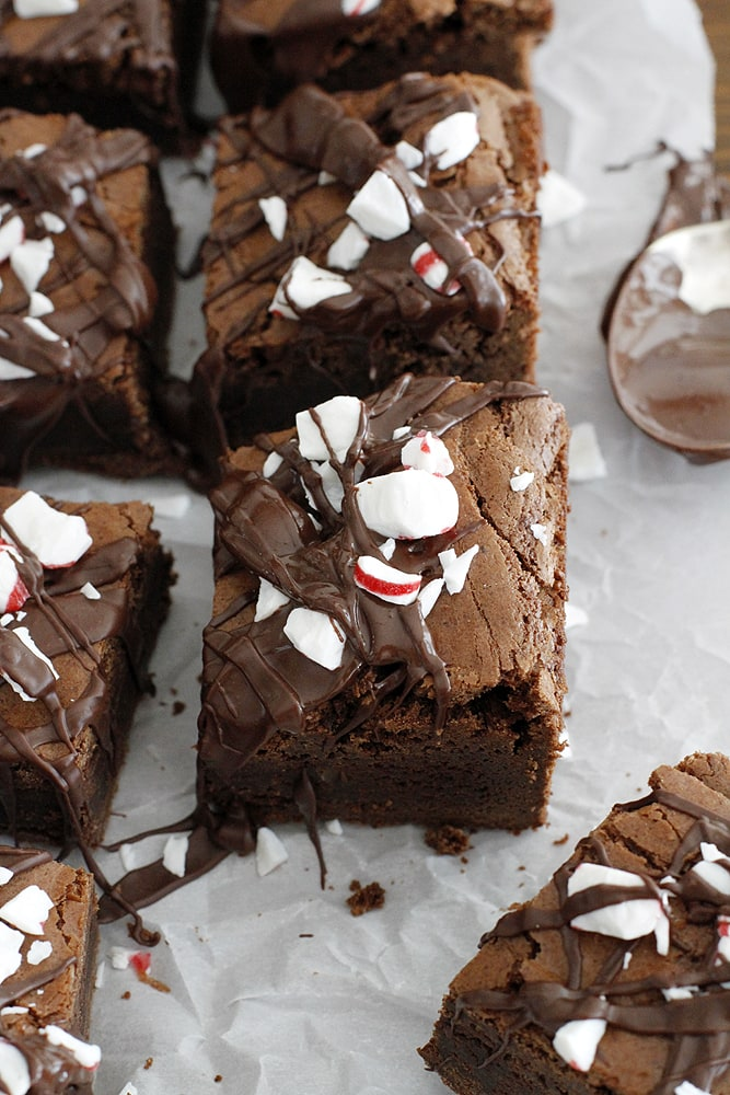 dark chocolate peppermint mocha brownies on parchment paper