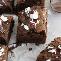 dark chocolate peppermint mocha brownies on parchment