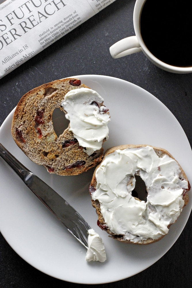 cranberry walnut bagel with cream cheese