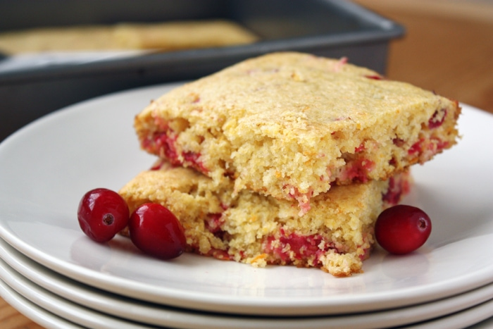 cranberry orange cornbread on plate