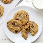 caramel coconut chocolate chip cookies with sea salt