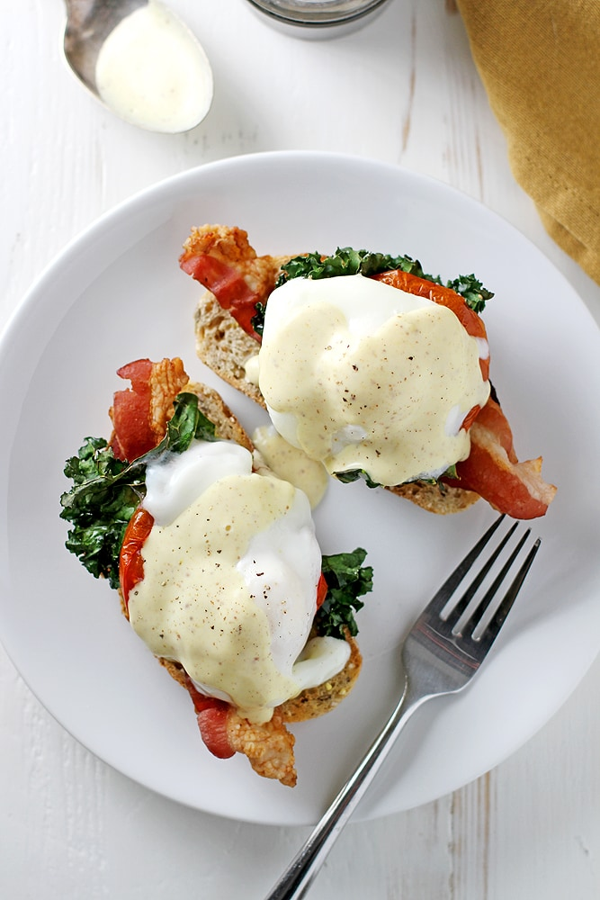 Bacon, Kale and Roasted Tomato Eggs Benedict | Girl Versus ...