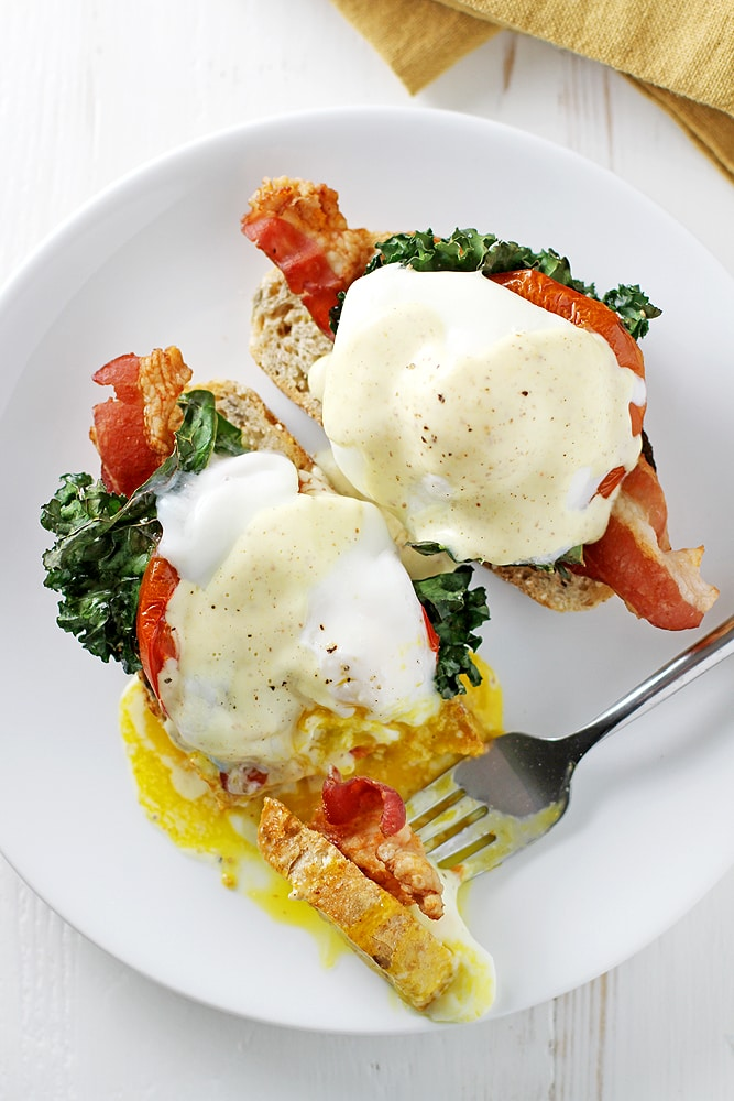 bacon eggs benedict on a plate