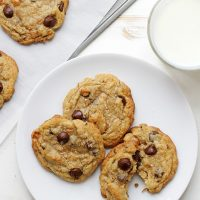 caramel coconut chocolate chip cookies on a plate