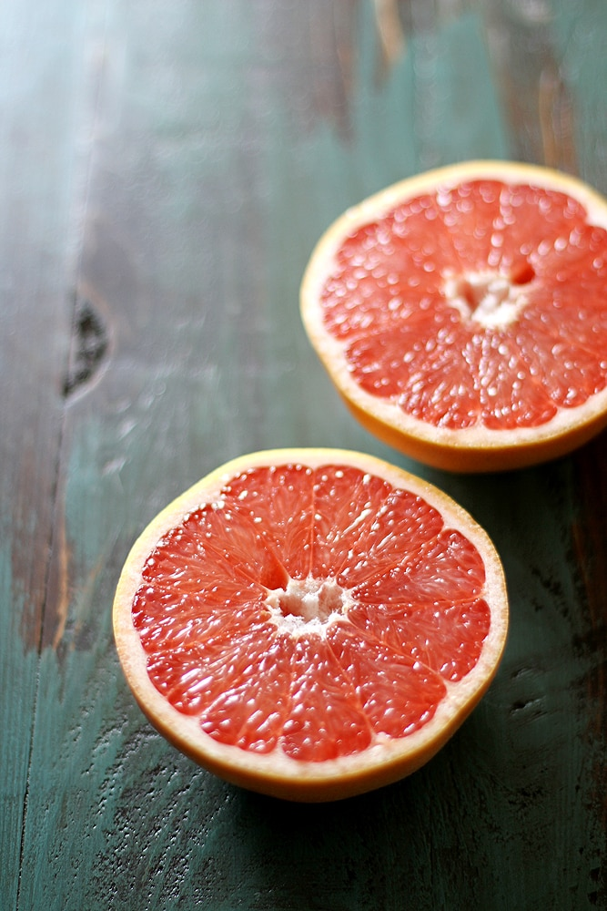 sliced grapefruit halves
