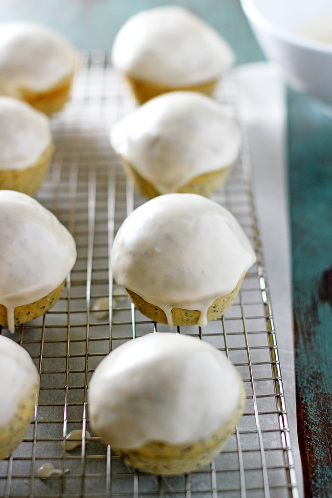 grapefruit poppy seed muffins on cooling rack