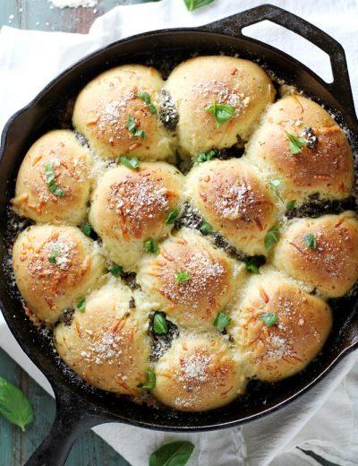 parmesan pesto rolls in skillet
