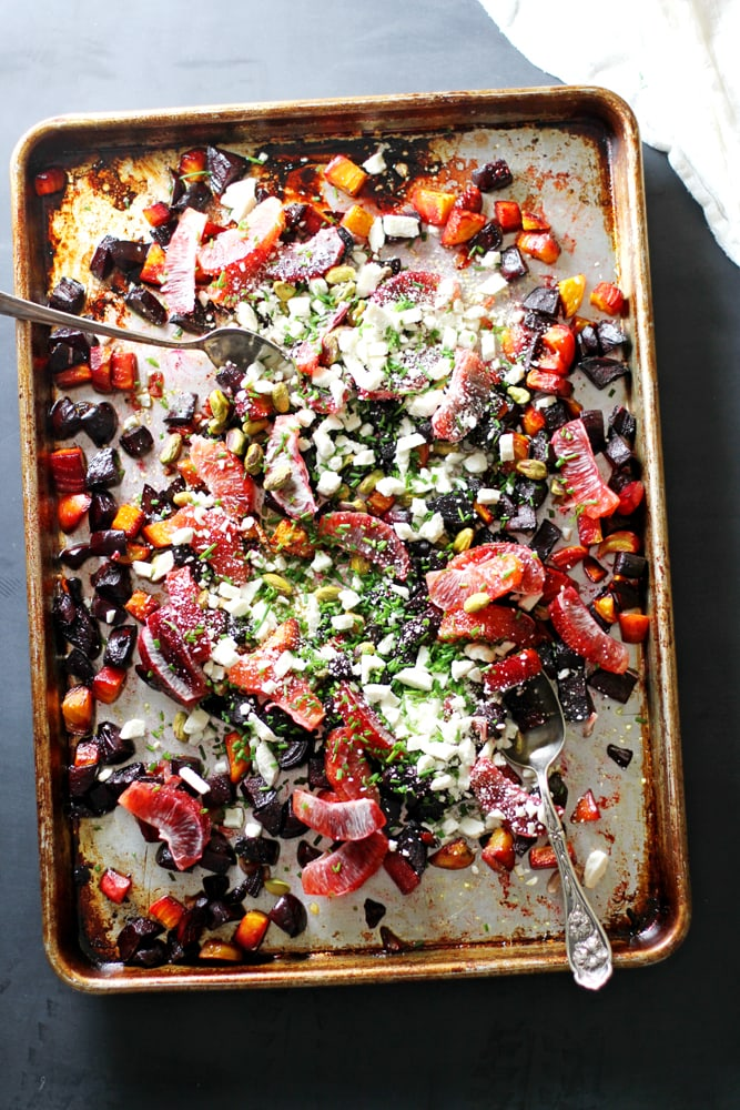 roasted beet orange salad on sheet pan