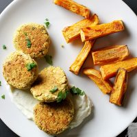 baked chickpea patties on a plate