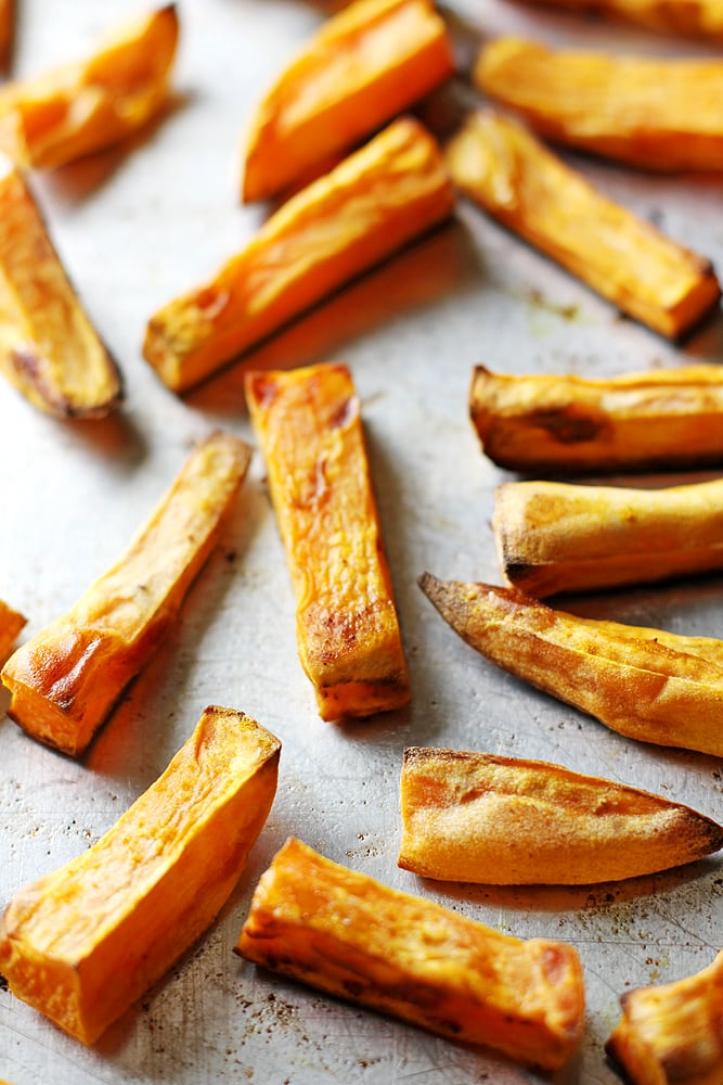 sweet potato fries on a baking sheet