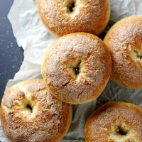 french toast bagels on parchment paper