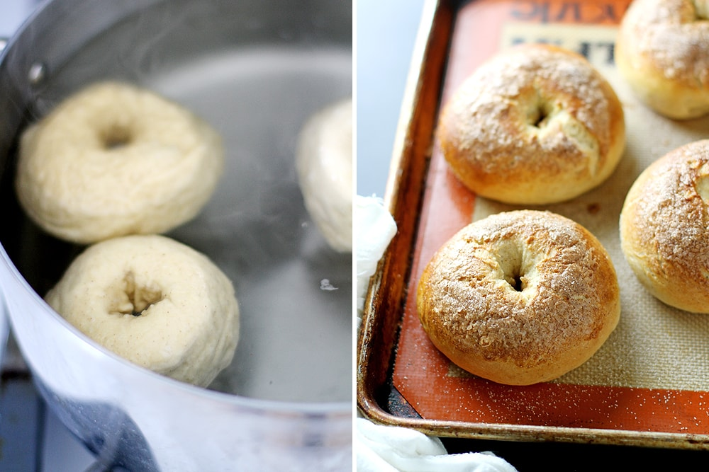 french toast bagels on baking sheet