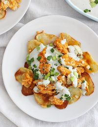 potato chip buffalo chicken nachos