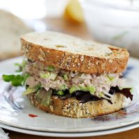 brussels sprout tuna salad sandwich on plate