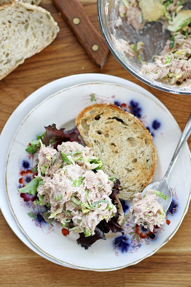 open tuna salad sandwich on plate