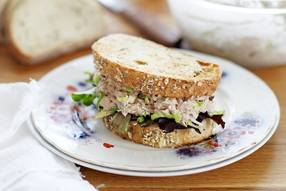 tuna salad sandwich on plate