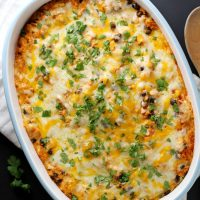 cheesy mexican couscous casserole in baking dish