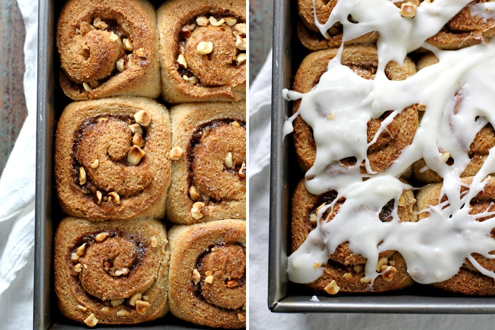 hazelnut rye rolls in a baking pan
