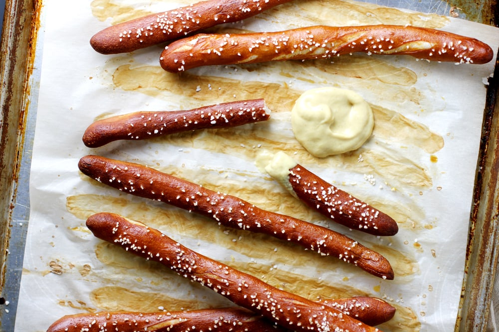 homemade hard pretzel rods with mustard dip
