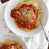 slow cooker chicken parmesan in a bowl