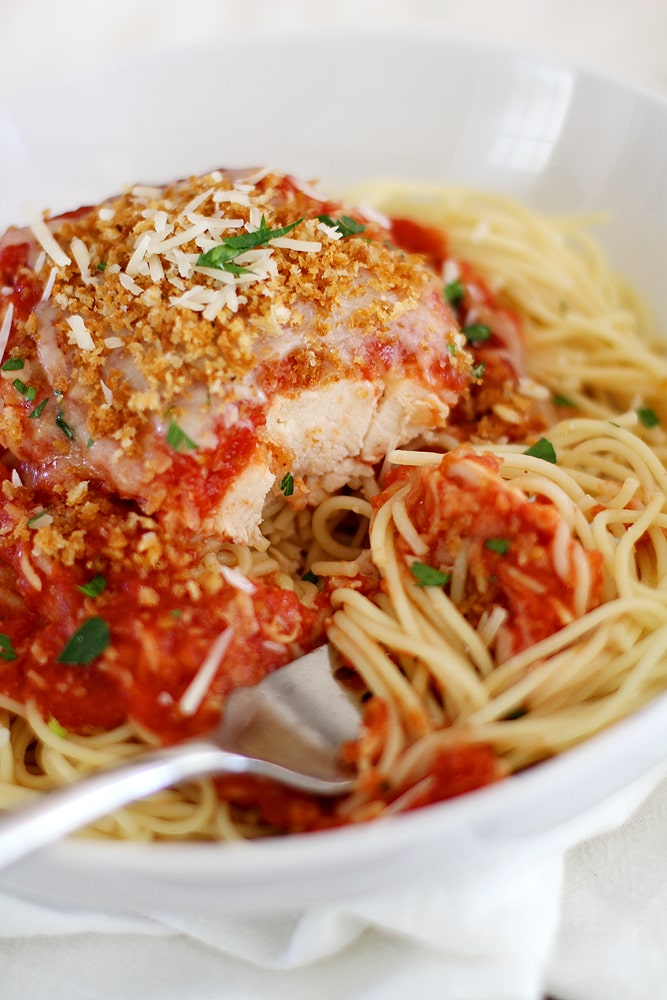 fork and slow cooker chicken parmesan