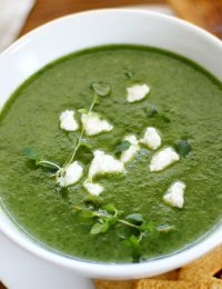 greens and goat cheese bisque