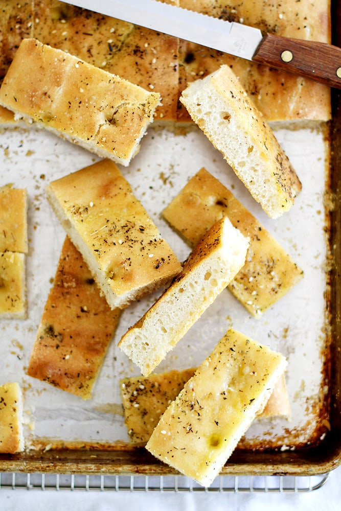 sliced zaatar focaccia on baking sheet