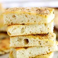 zaatar focaccia bread slices stacked