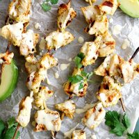 avocado ranch grilled chicken on parchment paper
