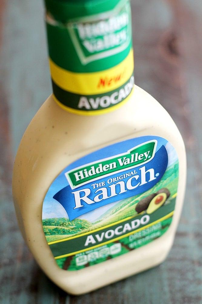 hidden valley avocado ranch bottle on table
