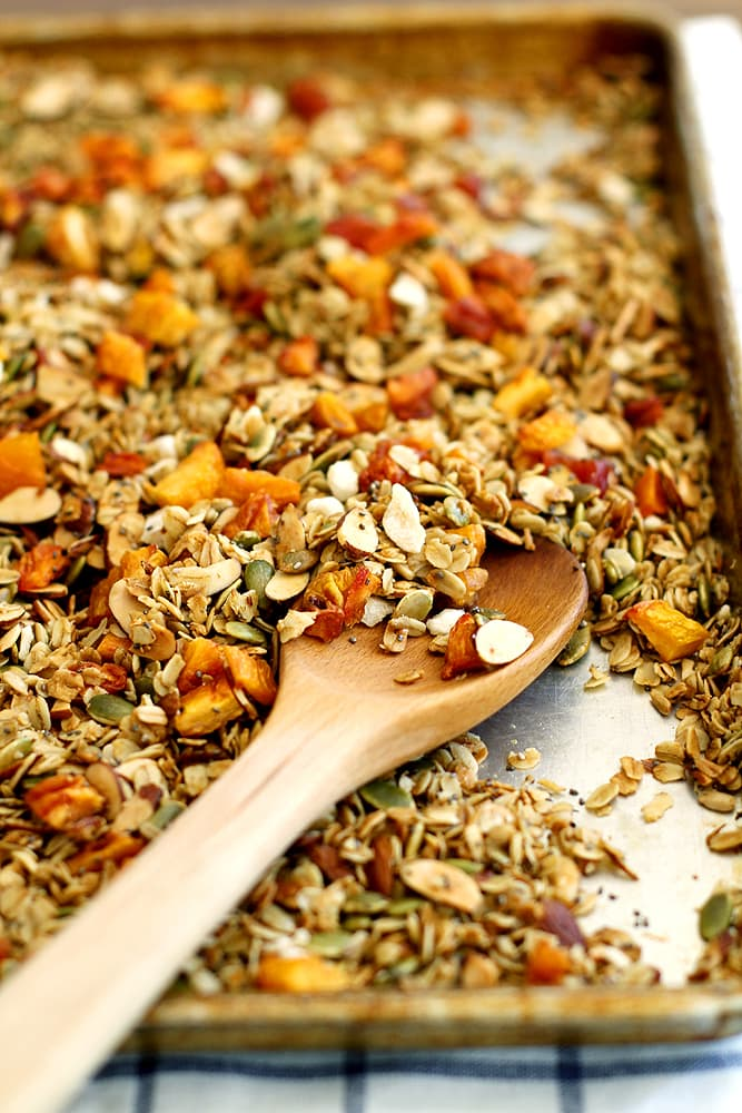ginger peach granola on baking sheet