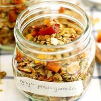 ginger peach granola in glass jar