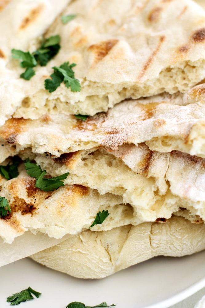 close up of no knead grilled naan