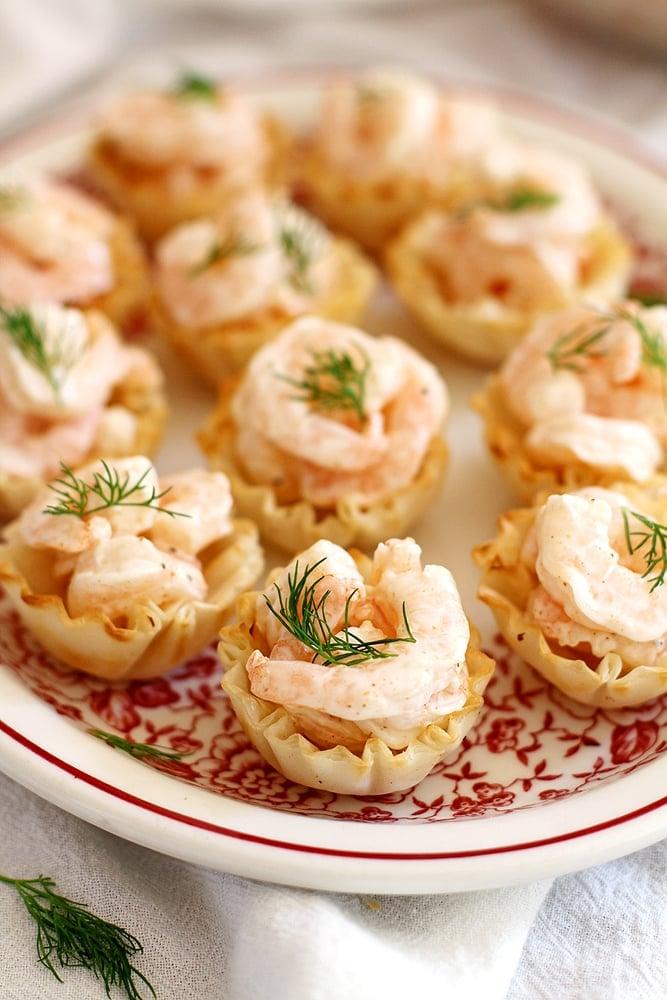close up shrimp salad bites on a plate