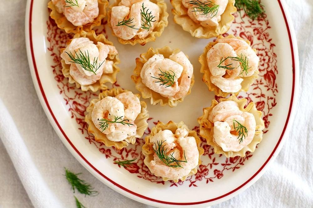 shrimp salad bites on a plate