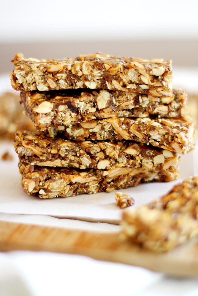 stack of apple peanut butter granola bars