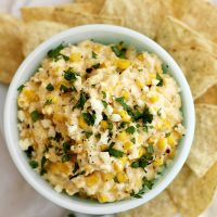 slow cooker mexican grilled corn dip in bowl