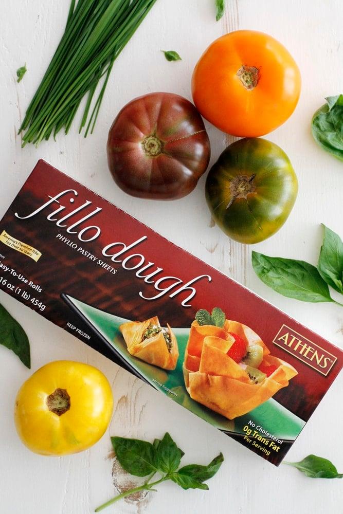 tomatoes and fillo dough box