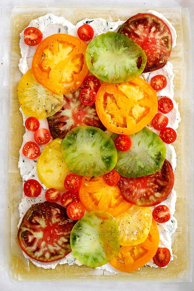 unbaked tomato ricotta phyllo tart