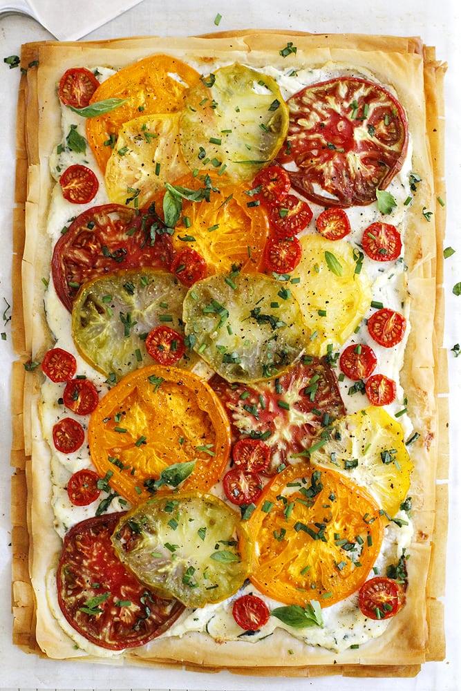 baked tomato ricotta phyllo tart