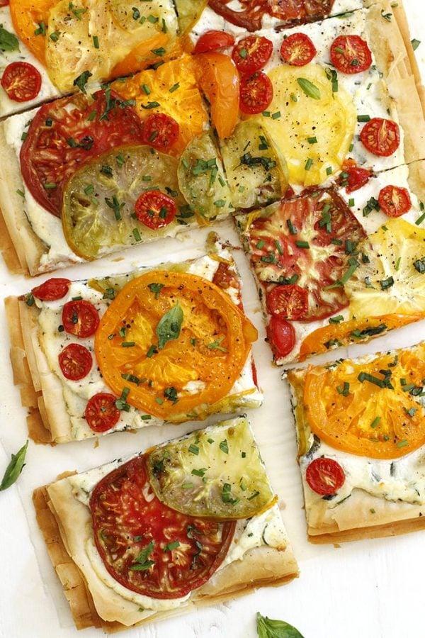 tomato ricotta phyllo tart