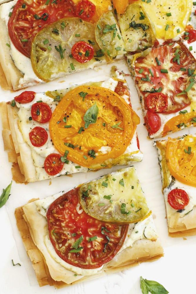 slice of tomato ricotta phyllo tart