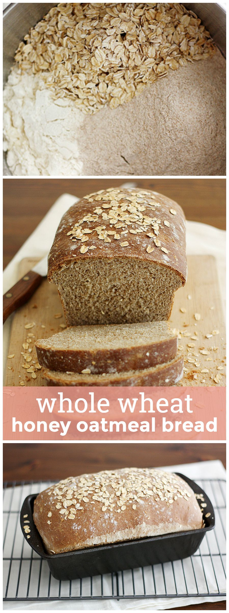 Whole Wheat Honey Oatmeal Bread -- so soft, so flavorful, so wholesome, you'll never want to buy storebought bread again. girlversusdough.com @girlversusdough