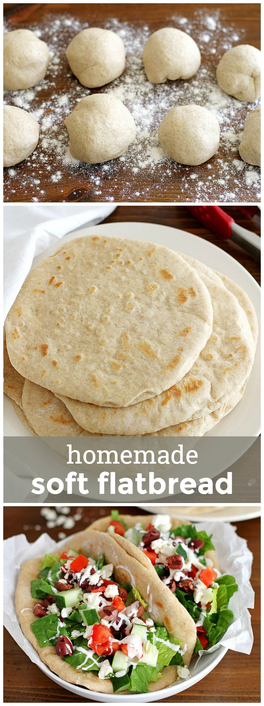 Homemade Soft Flatbread -- perfect for pita sandwiches, pizzas or to scoop your favorite dip! girlversusdough.com @girlversusdough #girlversusdough #pitabread #easybreadrecipe