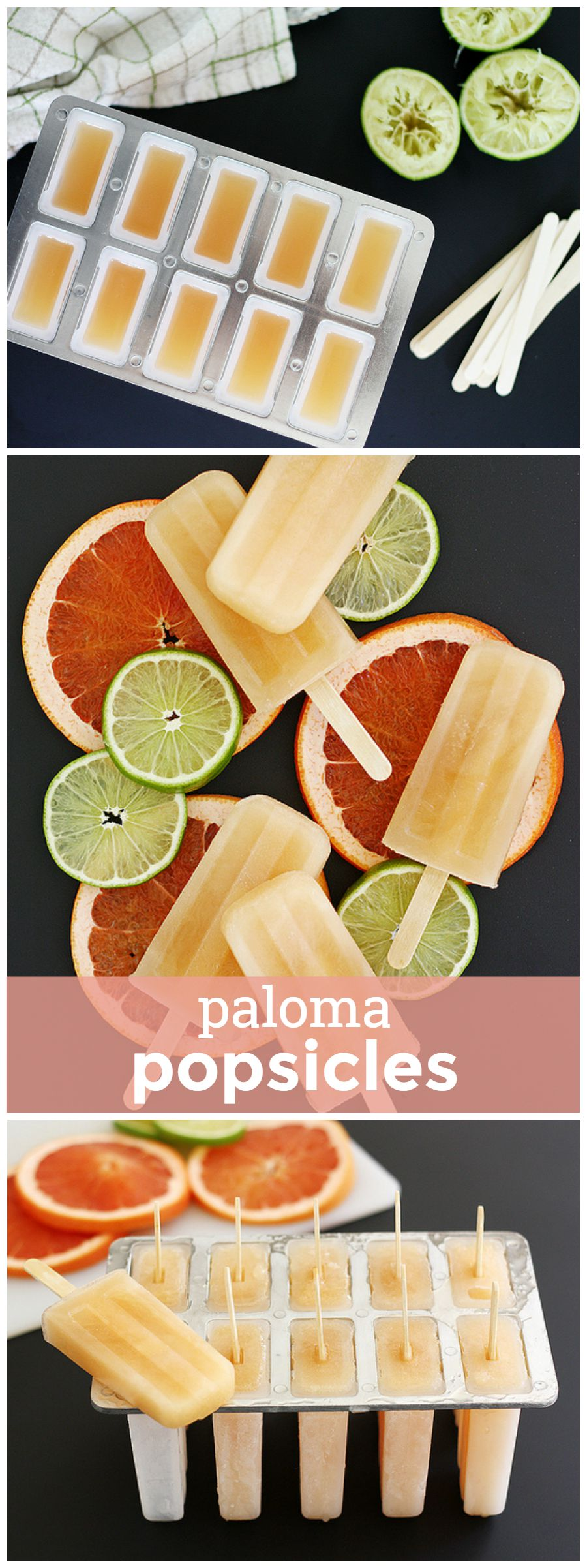 Paloma Popsicles -- The grapefruit soda-based tequila cocktail in popsicle form. YUM. girlversusdough.com @girlversusdough