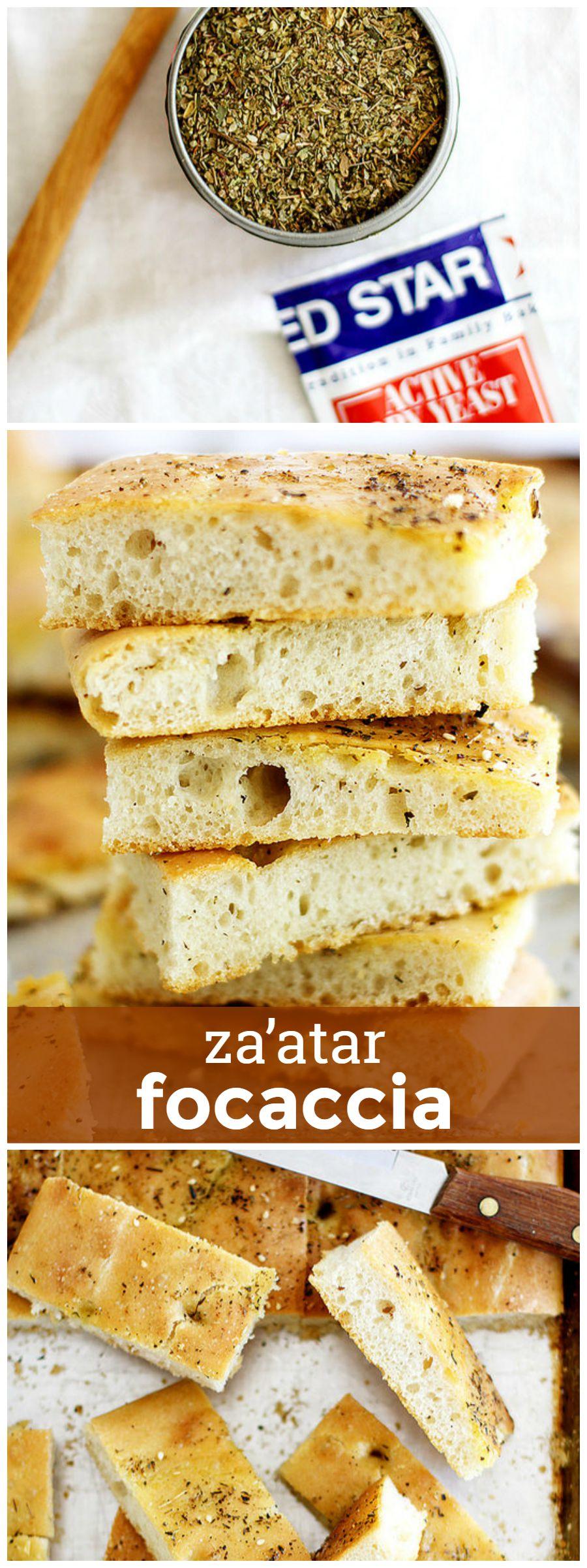 Za'atar Focaccia -- Tender focaccia flavored with savory za'atar spices. girlversusdough.com @girlversusdough