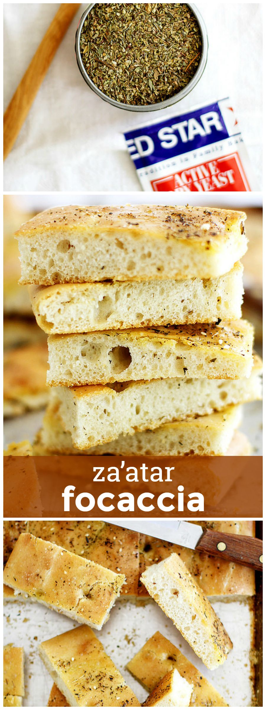 Za'atar Focaccia -- Tender focaccia flavored with savory za'atar spices. girlversusdough.com @girlversusdough